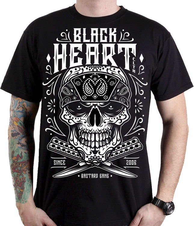 BLACK HEART BANDANA SKULL